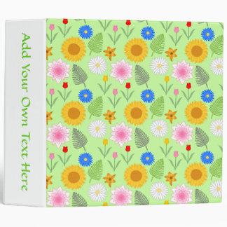 Colorful Floral Pattern on Mint Green. 3 Ring Binder