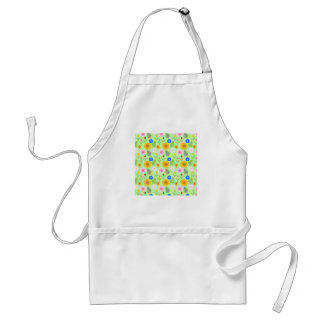 Colorful Floral Pattern on Mint Green. Adult Apron