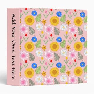 Colorful Floral Pattern on Pale Pink. Binder