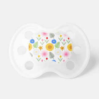 Colorful Floral Pattern on White. Pacifiers