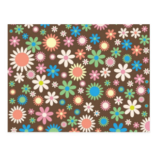 Colorful floral pattern post card