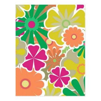 Colorful floral pattern postcard