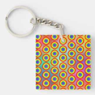 Colorful Floral Pattern. Rainbow Colors. Keychain