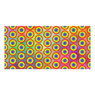 Colorful Floral Pattern. Rainbow Colors. Photo Card