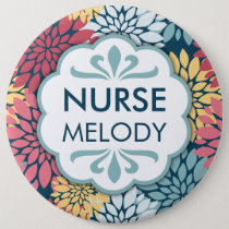 Colorful Floral Pattern RN Name Button