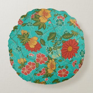Colorful Floral Pattern Round Pillow