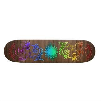 Colorful floral pattern skateboard