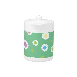 Colorful floral pattern teapot