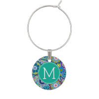 Colorful Floral Pattern with Custom Name Wine Charm