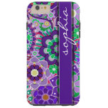 Colorful Floral Pattern with Name - aubergine Tough iPhone 6 Plus Case