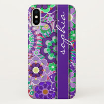 Colorful Floral Pattern with Name - aubergine iPhone X Case