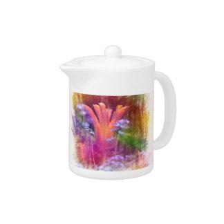 colorful  floral pencil sketch. orange tulip teapot