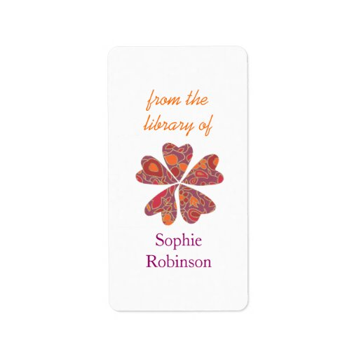 Colorful floral personalized bookplates personalized address label
