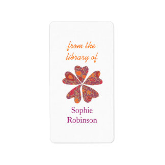 Colorful floral personalized bookplates address label