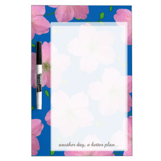 Colorful Floral Pink Flower any Text on any Color Dry-Erase Board