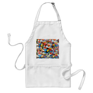 Colorful Floral Primary Abstract Adult Apron