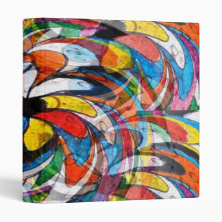 Colorful Floral Primary Abstract Vinyl Binders