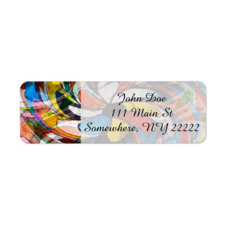 Colorful Floral Primary Abstract Label