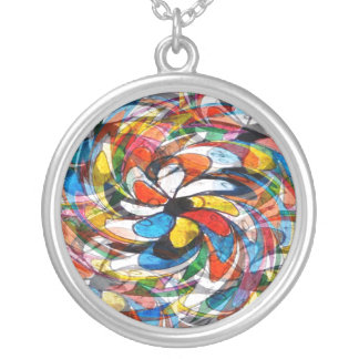 Colorful Floral Primary Abstract Round Pendant Necklace