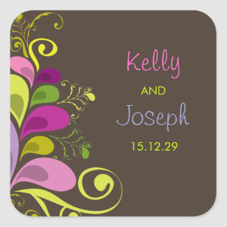 Colorful Floral Purple Deco Leaves Wedding Sticker