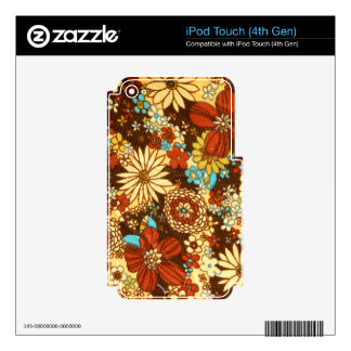 Colorful floral retro textile pattern skins for iPod touch 4G