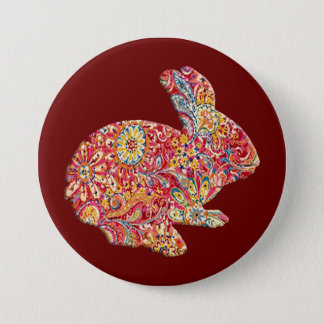 Colorful Floral Silhouette Easter Bunny Button