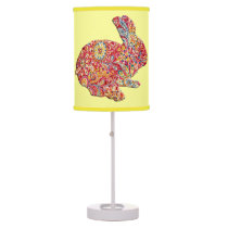 Colorful Floral Silhouette Easter Bunny Desk Lamp