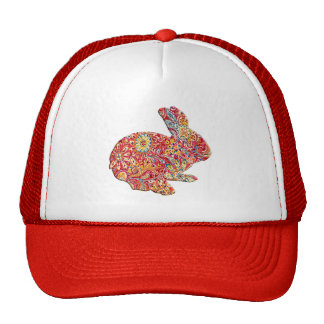 Colorful Floral Silhouette Easter Bunny Hat