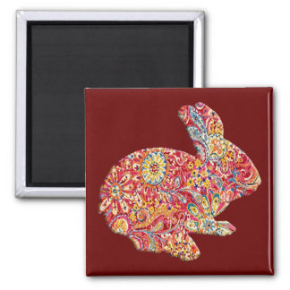 Colorful Floral Silhouette Easter Bunny Magnet