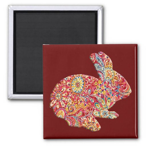 Colorful Floral Silhouette Easter Bunny Magnet Fridge Magnet
