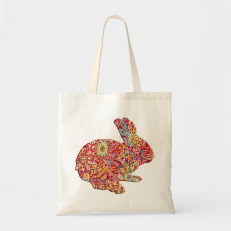 Colorful Floral Silhouette Easter Bunny Tote Bag
