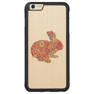 Colorful Floral Silhouette Rabbit iPhone 6 Case Carved® Maple iPhone 6 Plus Bumper