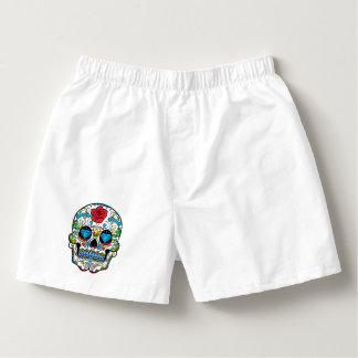 Colorful Floral Skull Red Rose Blue Diamond Eyes Boxers