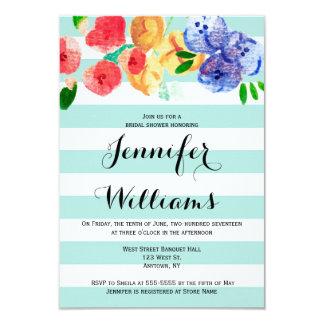 Colorful floral stripe bridal shower invitations