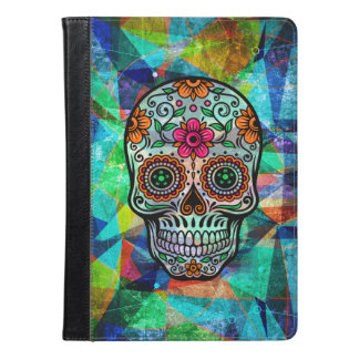 Colorful Floral Sugar Skull & Abstract Background iPad Air Case