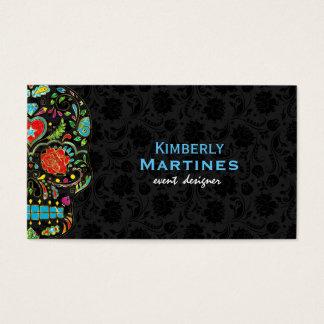 Colorful Floral Sugar Skull & Black Damasks Business Card