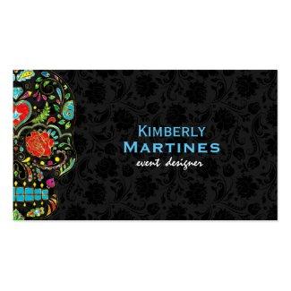 Colorful Floral Sugar Skull & Black Damasks Double-Sided Standard Business Cards (Pack Of 100)