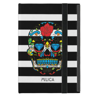 Colorful Floral Sugar Skull Black & White Stripes Cover For iPad Mini