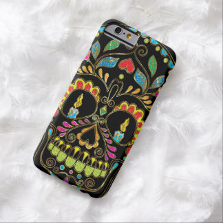 Colorful Floral Sugar Skull Burning Candles Barely There iPhone 6 Case