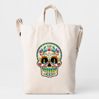 Colorful Floral Sugar Skull Burning Candles Duck Bag