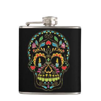 Colorful Floral Sugar Skull Burning Candles Hip Flask