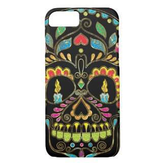 Colorful Floral Sugar Skull Burning Candles iPhone 7 Case