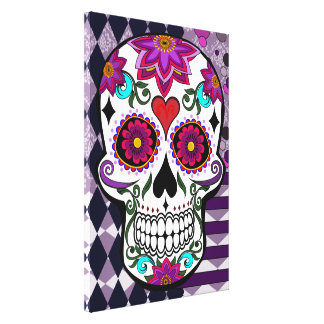 Colorful floral sugar skull canvas print