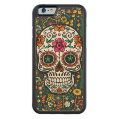 Colorful Floral Sugar Skull Carved Maple Iphone 6 Bumper Case at Zazzle