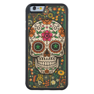 Colorful Floral Sugar Skull Carved Maple iPhone 6 Bumper Case