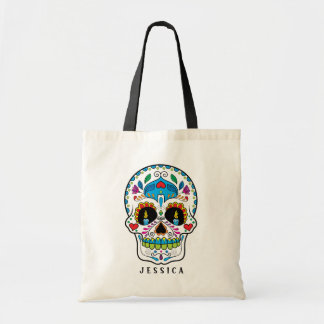 Colorful Floral Sugar Skull Design Tote Bag