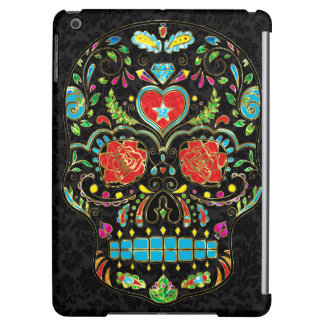 Colorful Floral Sugar Skull Glitter And Gold 2 Case For iPad Air