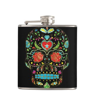 Colorful Floral Sugar Skull Glitter And Gold 2 Hip Flask