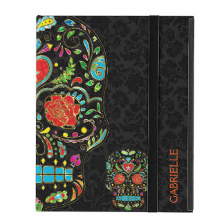 Colorful Floral Sugar Skull Glitter And Gold 2 iPad Cover