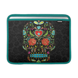 Colorful Floral Sugar Skull Glitter And Gold 2 MacBook Air Sleeves